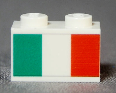 Italian Flag Printed on a 1x2 white brick; cost=$1.50